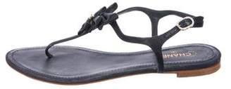 Chanel Embellished Bow Sandals