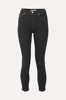 RE/DONE Originals Ultra Stretch High-rise Ankle Crop Skinny Jeans - Black