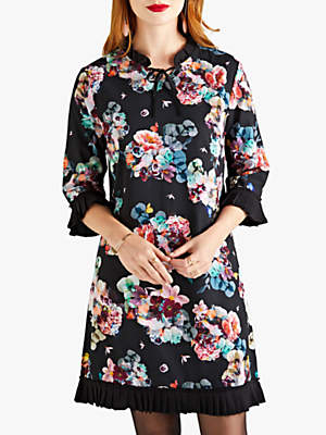 Yumi Floral Tunic Dress, Black