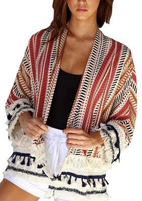 HTOOHTOOH Women's Open Front 3/4 Sleeve Ethnic Style Long Soft Cardigan M