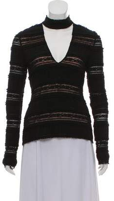 Cinq à Sept Lace Pleated Long Sleeve Top