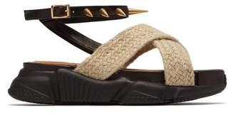 Marques Almeida Marques'almeida - Raffia Strapped Platform Sandals - Womens - Black