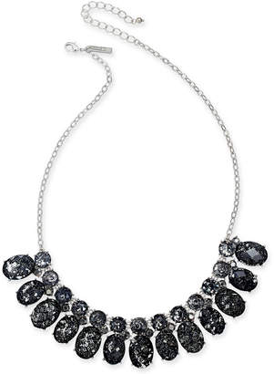 "INC International Concepts I.n.c. Silver-Tone Crystal & Stone Collar Necklace, 18"" + 3"" extender"