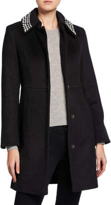 Karl Lagerfeld Paris Pearly Collar Snap-Button Wool Coat
