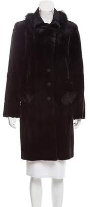 Cassin Fox-Trimmed Mink Coat