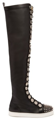 Christian Louboutin Butchetta Donna Over The Knee Leather Boots - Womens - Black Silver