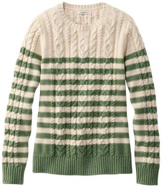 L.L. Bean L.L.Bean Women's Double L Sweater Mixed-Cable Pullover, Crewneck