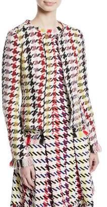 Oscar de la Renta Multi-Check 2-Pocket Cropped Tweed Jacket