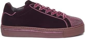 Rene Caovilla Strass toe velvet sneakers