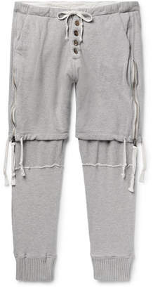 Greg Lauren Tapered Zip-Detailed Loopback Cotton-Jersey Sweatpants