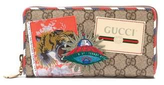 593e0e834320 Gucci Gg Supreme Logo And Spaceship Patch Wallet - Mens - Brown Multi