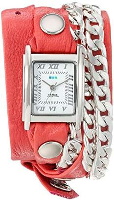 La Mer Women's 'Silver Cuban Duo Chain' Quartz and Leather Watch