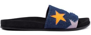 Stella McCartney Laser-cut Faux Leather And Denim Slides