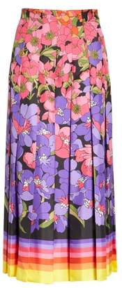 Gucci Flower Degrade Pleated Silk Skirt
