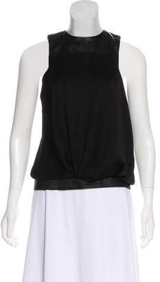 Helmut Lang Leather-Trim Sleeveless Top