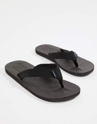 Abercrombie & Fitch Tab Logo Flip Flops in Black