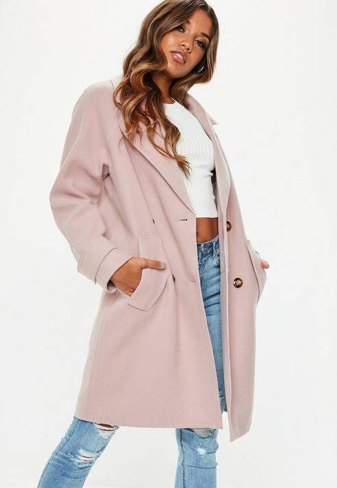 Blush Double Breasted Cocoon Coat, Blush