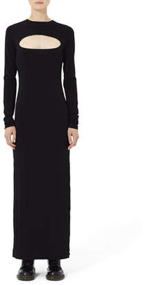 Marc Jacobs Long-Sleeve Jersey Maxi Dress with Cutout Yoke