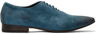 Haider Ackermann Blue Suede Pointed Derbys