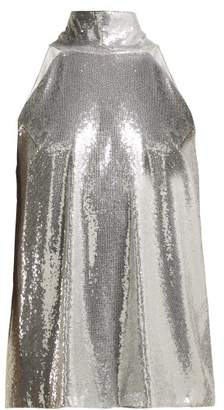 Galvan - Galaxy Sequined Halterneck Top - Womens - Silver
