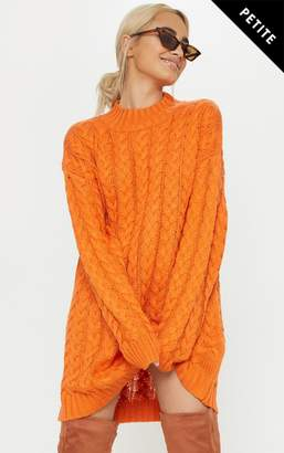 PrettyLittleThing Petite Orange Oversized Cable Knit Dress