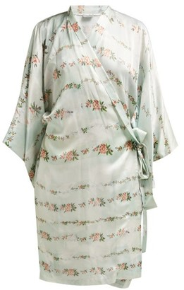 Preen by Thornton Bregazzi Floral Print Satin Robe - Womens - Light Green