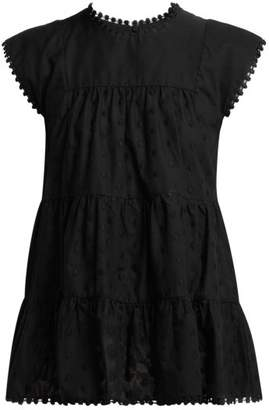 See by Chloe Polka Dot Tiered Cotton Blouse - Womens - Black