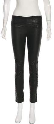 Milly Embossed Leather Mid-Rise Skinny Pants