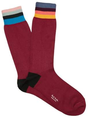 Paul Smith Artist Striped Cotton Blend Socks - Mens - Burgundy