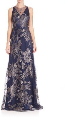 David Meister Illusion V-Neck Floral-Embroidered Gown $750 thestylecure.com