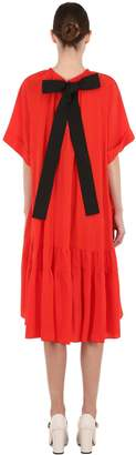 Rochas Silk Crepe De Chine Dress W/ Bow