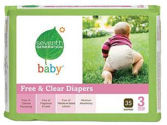 Seventh Generation Baby Free & Clear Diapers,Stage 3,16-28 Lbs,140 Ea