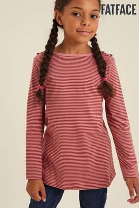 Fat Face Girls FatFace Pink Fine Stripe T-Shirt - Pink