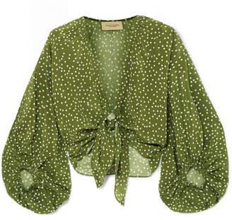 Adriana Degreas Millie Punti Tie-detailed Polka-dot Silk Crepe De Chine Blouse - Green