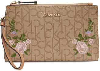 Calvin Klein Saffiano Leather Signature Wristlet