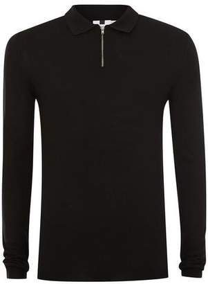 Topman Mens Black Muscle Fit Zip Polo