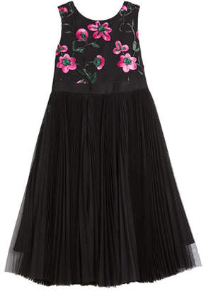 Milly Minis Tulle & Floral Embroidered Dress, Size 4-7