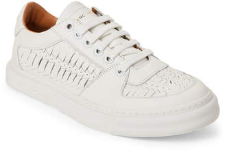 Marc Jacobs White Leather Woven Low-Top Sneakers