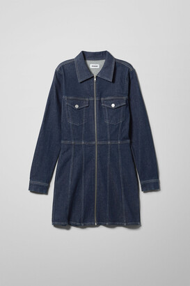 Weekday Carol Rinsed Denim Dress - Blue
