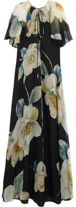 Lanvin - Floral-print Silk-chiffon Gown - Black $7,195 thestylecure.com
