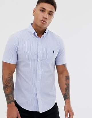 4d4e40d05 Polo Ralph Lauren player logo pocket short sleeve stripe seersucker shirt  slim fit in blue