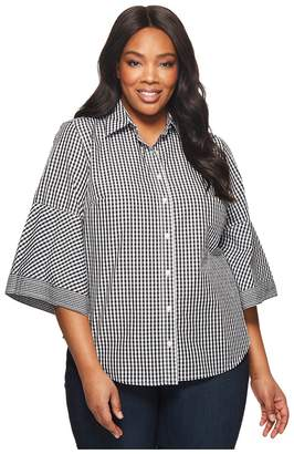 Lauren Ralph Lauren Plus Size Gingham Bell-Sleeve Shirt Women's Clothing