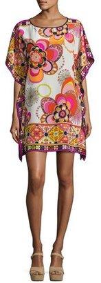 Trina Turk Sabita Floral Silk Mini Caftan, Multicolor $298 thestylecure.com