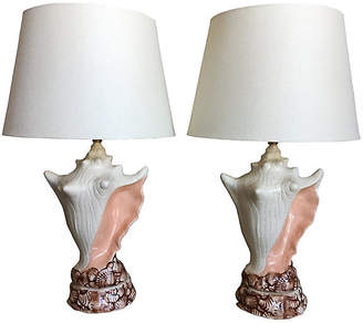 One Kings Lane Vintage Conch Shell Lamps w/Shades - Set of 2 - C the Light Interiors