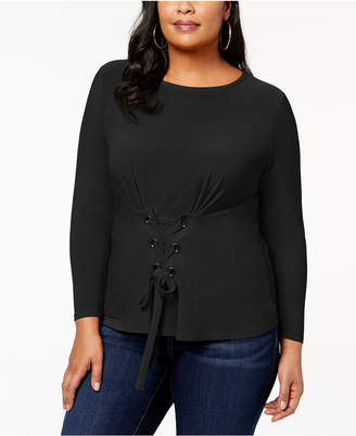 INC International Concepts I.n.c. Plus Size Corset-Detail Top, Created for Macy's