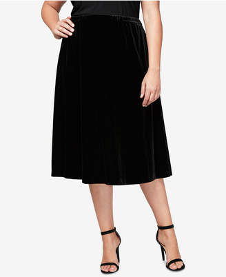 Alex Evenings Plus Size Velvet Midi Circle Skirt