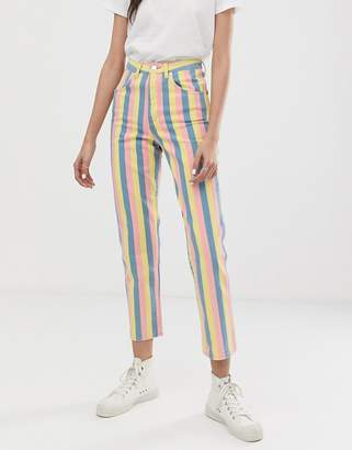 Wrangler candy stripe high rise mom jean