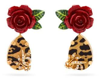Dolce & Gabbana Rose, Crystal And Leopard Print Drop Earrings - Womens - Red