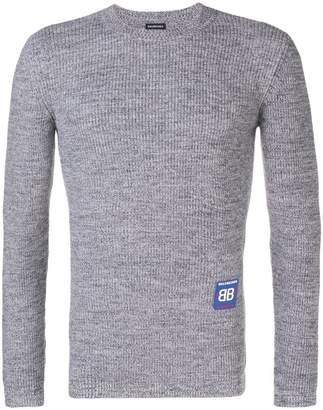 Balenciaga jersey panel ribbed sweater
