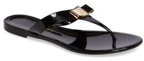 Women's Salvatore Ferragamo Jelly Flat Bow Sandal $260 thestylecure.com
